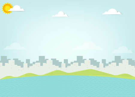 clouds scape: sea on background silhouette of the city Illustration