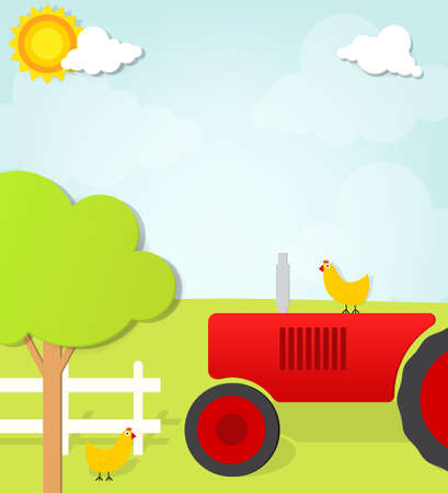 tractor on the farm Vector
