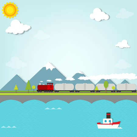 clouds cartoon: train on background of mountains