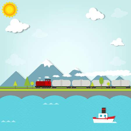 tren caricatura: tren en el fondo de las montañas