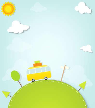 minivan: Cartoon minivan on the hill