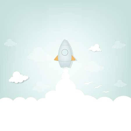 mosca caricatura: lanzamiento de un cohete de dibujos animados Vectores