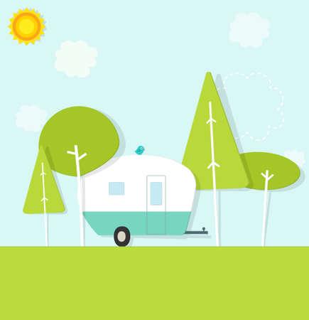 caravan in het bos