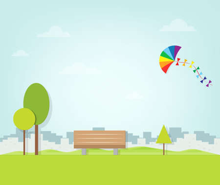 park: kite flying over the park Illustration