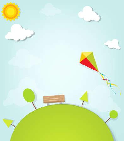 paper kite: kite flying over the park Illustration