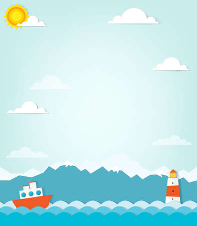 ship on a background of mountains Vector