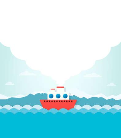 steamship: stoomschip op een achtergrond van bergen