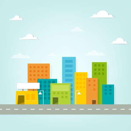 cartoon clouds: paisaje urbano