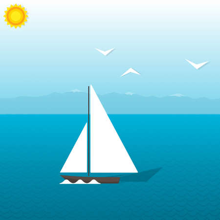 boat at sea on background of mountains Vector