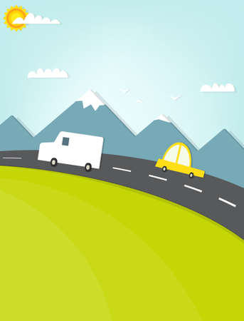 cartoon mountain: car traveling on the road in the mountains