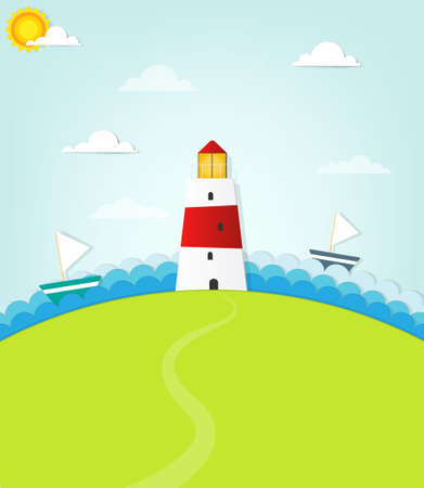 lighthouse on a hill Vector
