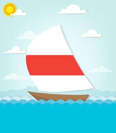 ship sails on the sea