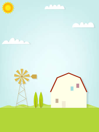 Country landscape with windmill Vector