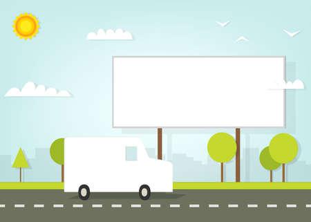 car driving on road near the billboard Vector
