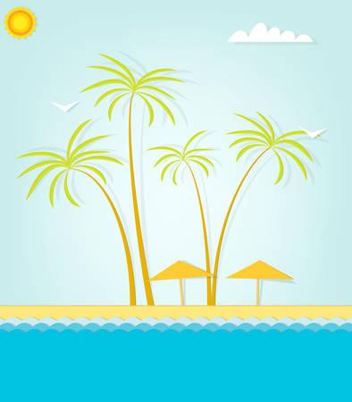 sand beach: Paradise sand beach and palm tree of a tropical island