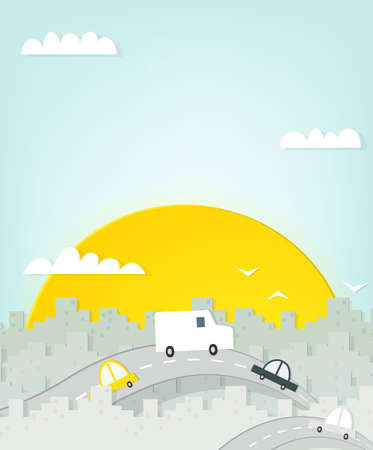 road through the city. cutout illustration