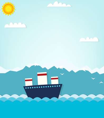 boat on background of mountains.  Vector
