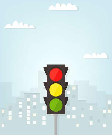 señal de transito: semáforo en la ciudad.
