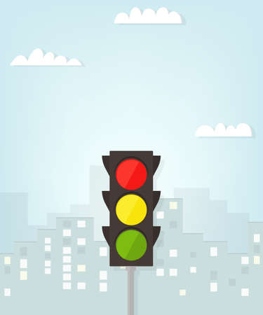 green road sign: traffic light in the city.
