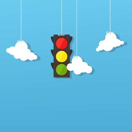 señal de transito: semáforo y las nubes.