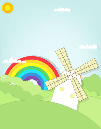 cartoon windmill in a grass field. Vector