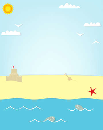 beach and fish poster. Vector