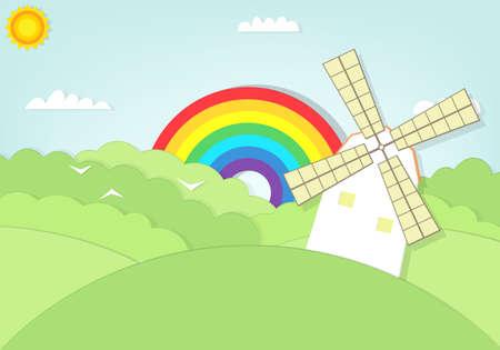 speelveld gras: cartoon windmolen op grasveld illustratie.