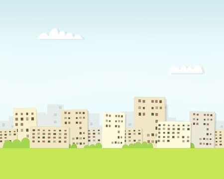 seamless paper: cartoon urban landscape under clouds. seamless paper pattern Illustration