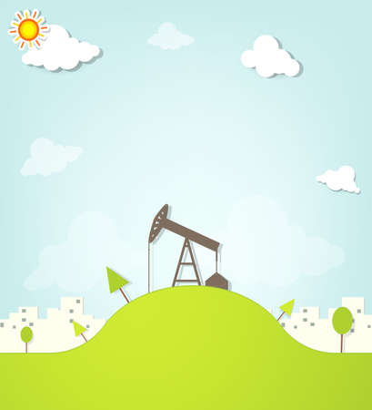 oil and gas industry: Oil pump on a hill next to the city Illustration