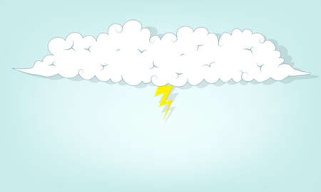 cloud with lightning. flat paper illustration Vector