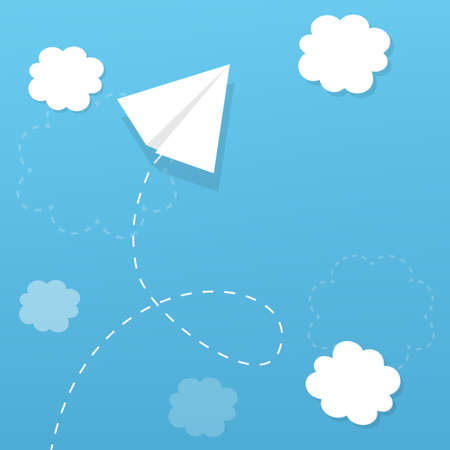 paper airplane flying in the clouds, and leaves a trail Vector
