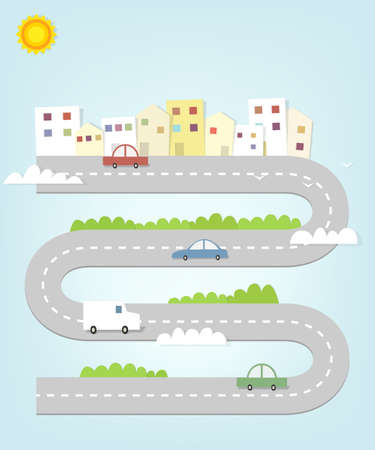 city landscape: cartoon road map of the city with houses and cars Illustration