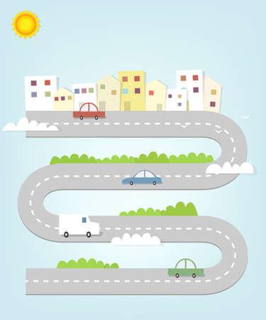 cartoon weg kaart van de stad met huizen en auto's