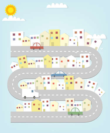 cartoon road map of the city with houses and cars Vector