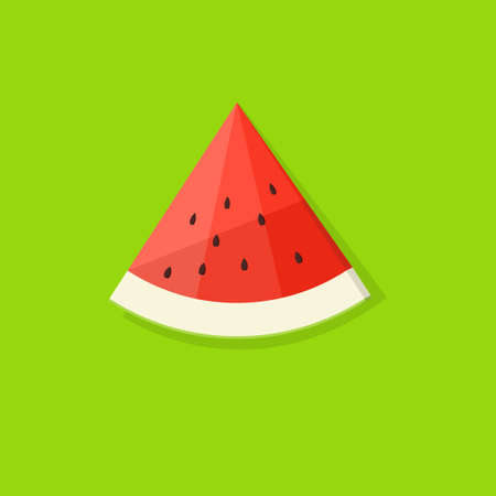 papercraft: cartoon slice of watermelon on green background