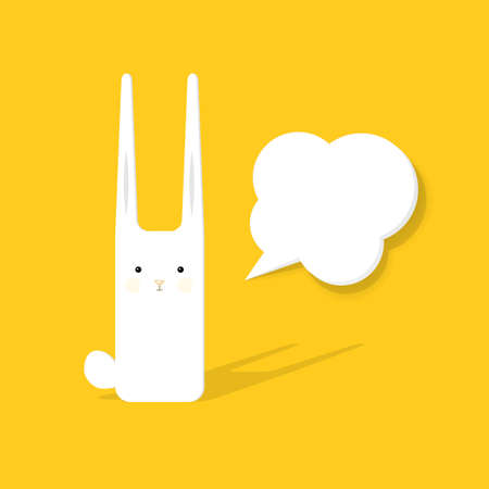 bunny rabbit: cartoon rabbit with speech bubble Illustration