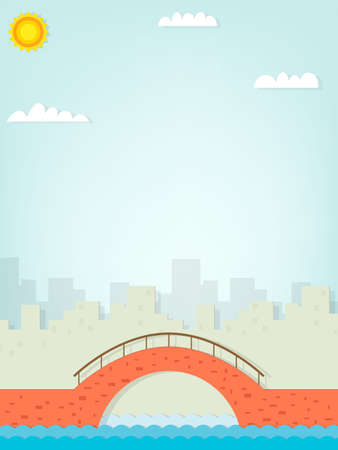 Image brick bridge on the background of the city on a sunny day Illustration