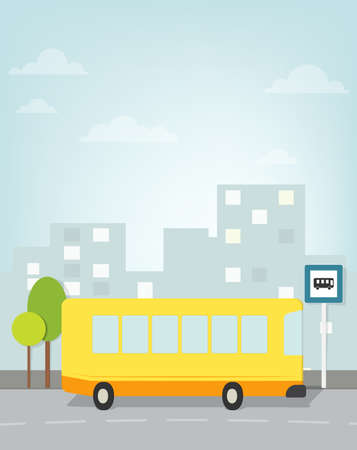 bus pulls to stop in the city Vector