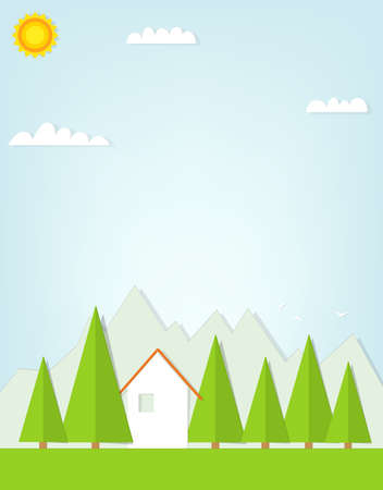 cartoon house on background of mountains. flat paper illustration Vector