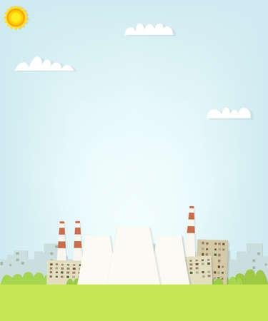 thermal power plant: planta de energ�a t�rmica en el fondo de la ciudad. ilustraci�n papel plano Vectores