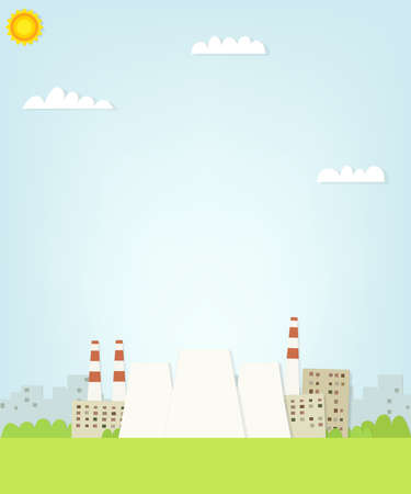 nuclear reactor: thermal power plant on the background of the city. flat paper illustration Illustration