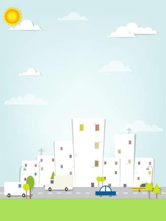 flat urban landscape  イラスト・ベクター素材