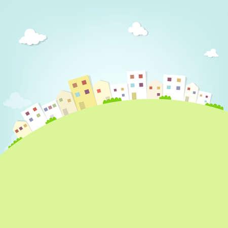 flat panorama town 向量圖像
