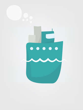 steamship: Cartoon steamship. Simple flat image Illustration