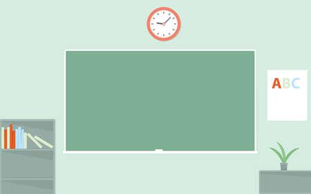 schoolroom: Green chalkboard. Empty schoolroom Illustration