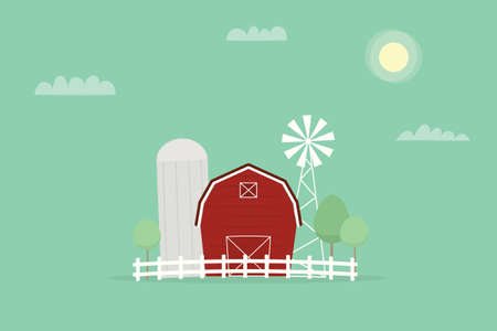 midwest: Red farm, windmill and silos Illustration