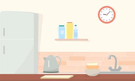 キッチン ルーム。簡単な漫画のイメージ