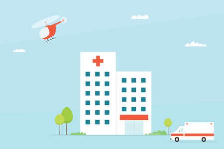病院の建物。シンプルなフラットなイメージ