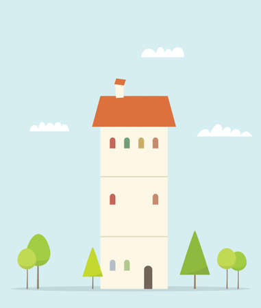 windows home: Cartoon house. Simple flat image Illustration