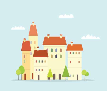 arboles de caricatura: Ciudad de la historieta. paisaje urbano simple con árboles